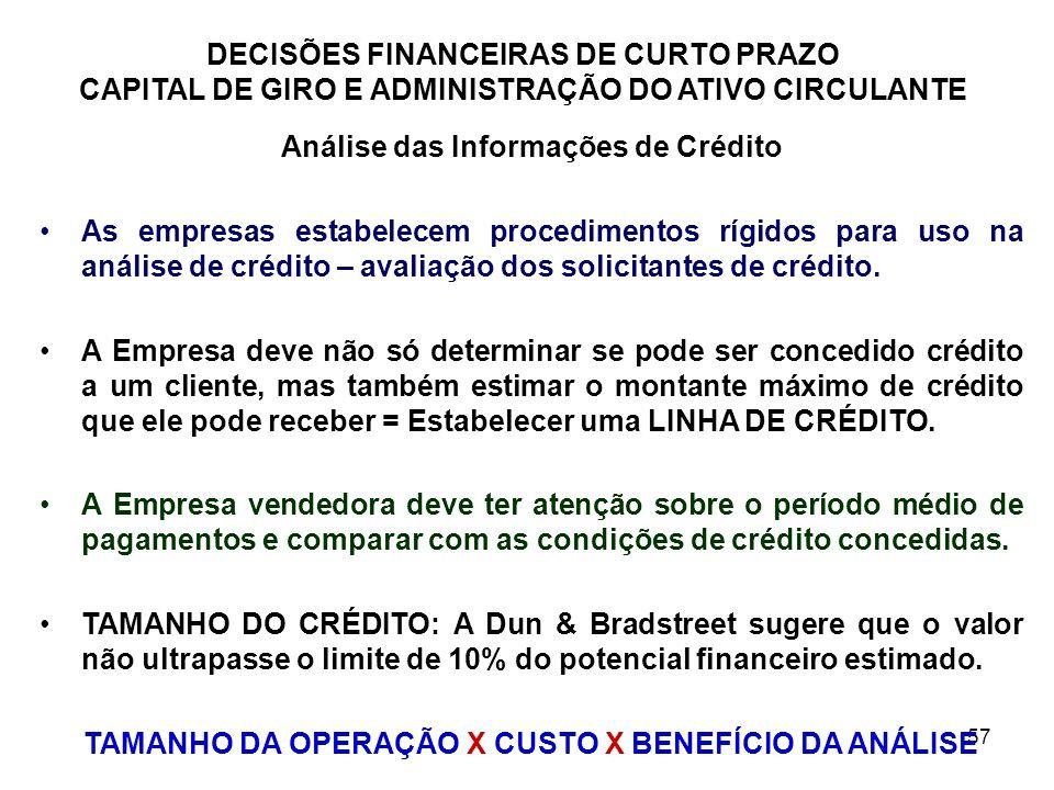 Análise das Informações de Crédito