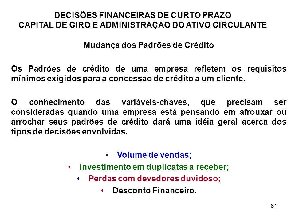 Mudança dos Padrões de Crédito