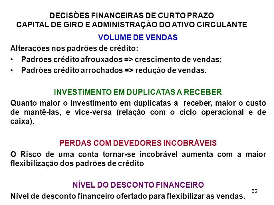 Alterações nos padrões de crédito:
