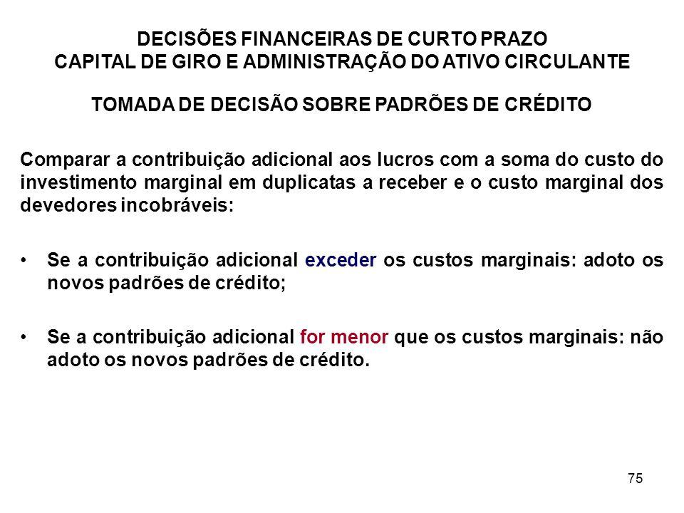 TOMADA DE DECISÃO SOBRE PADRÕES DE CRÉDITO