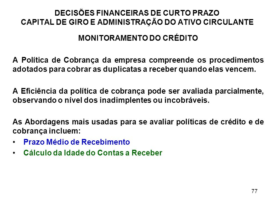 MONITORAMENTO DO CRÉDITO