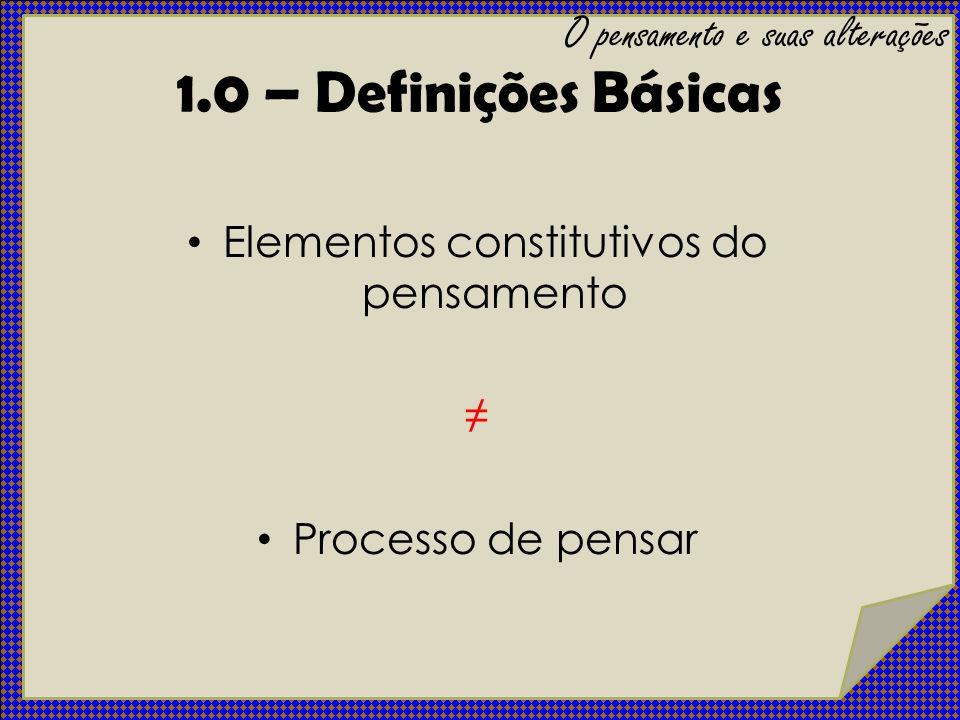 1.0 – Definições Básicas O pensamento e suas alterações