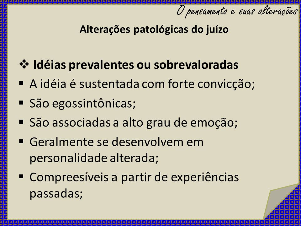 Alterações patológicas do juízo