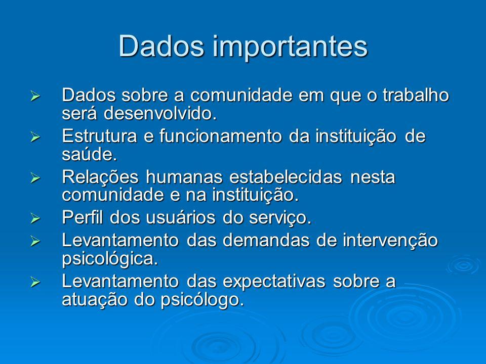 Dados importantes Dados sobre a comunidade em que o trabalho será desenvolvido. Estrutura e funcionamento da instituição de saúde.
