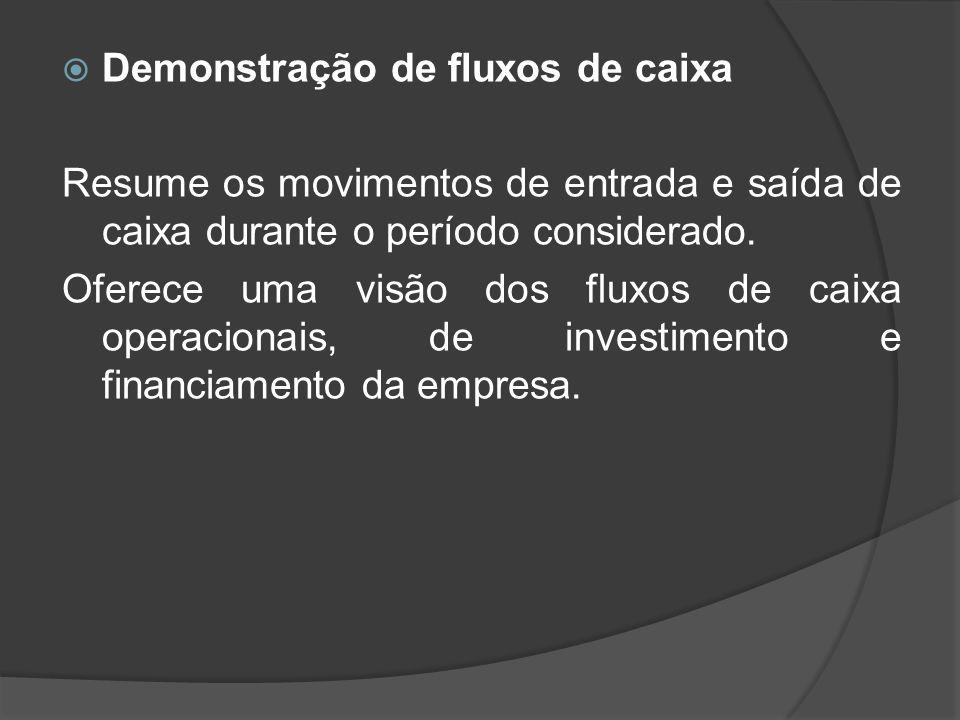 Demonstração de fluxos de caixa
