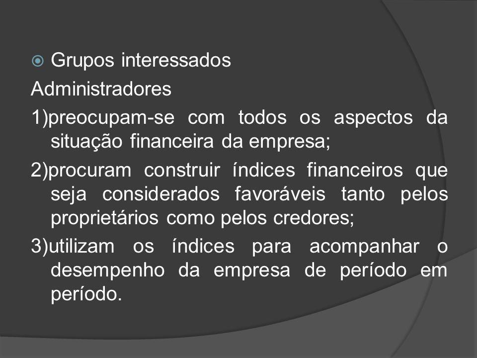 Grupos interessados Administradores. 1)preocupam-se com todos os aspectos da situação financeira da empresa;