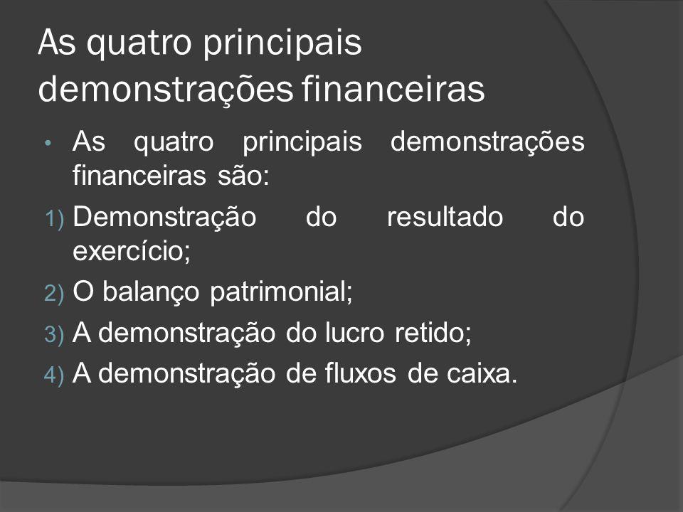 As quatro principais demonstrações financeiras