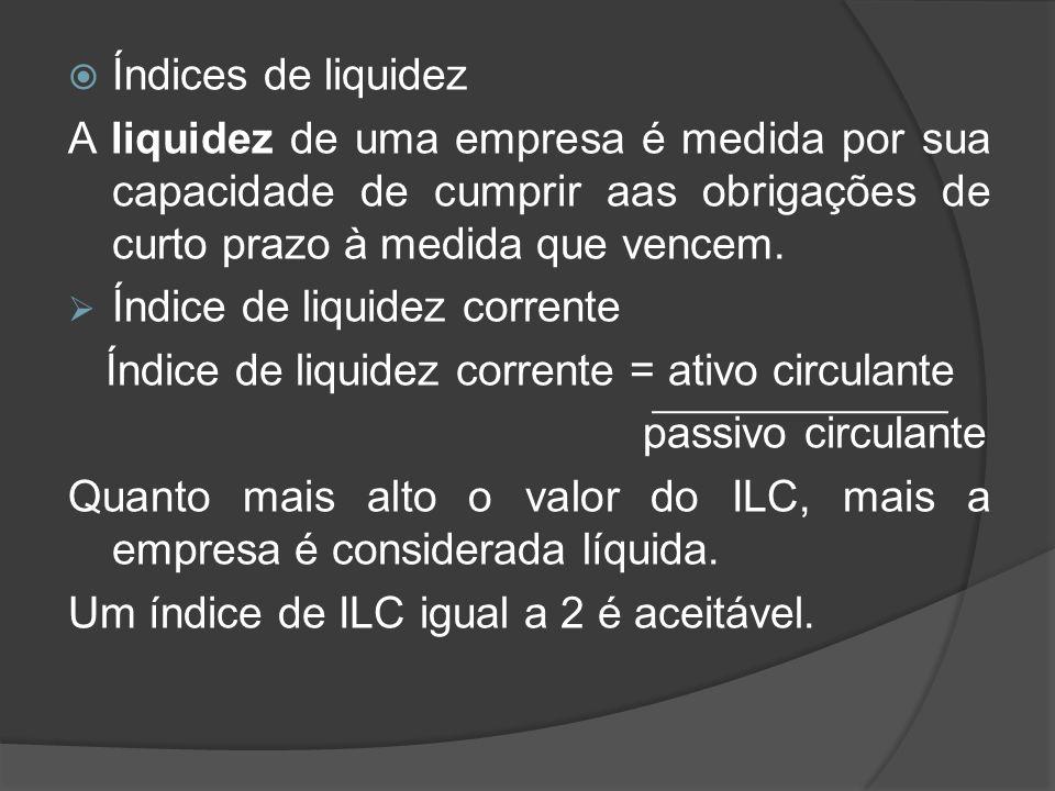 Índice de liquidez corrente = ativo circulante