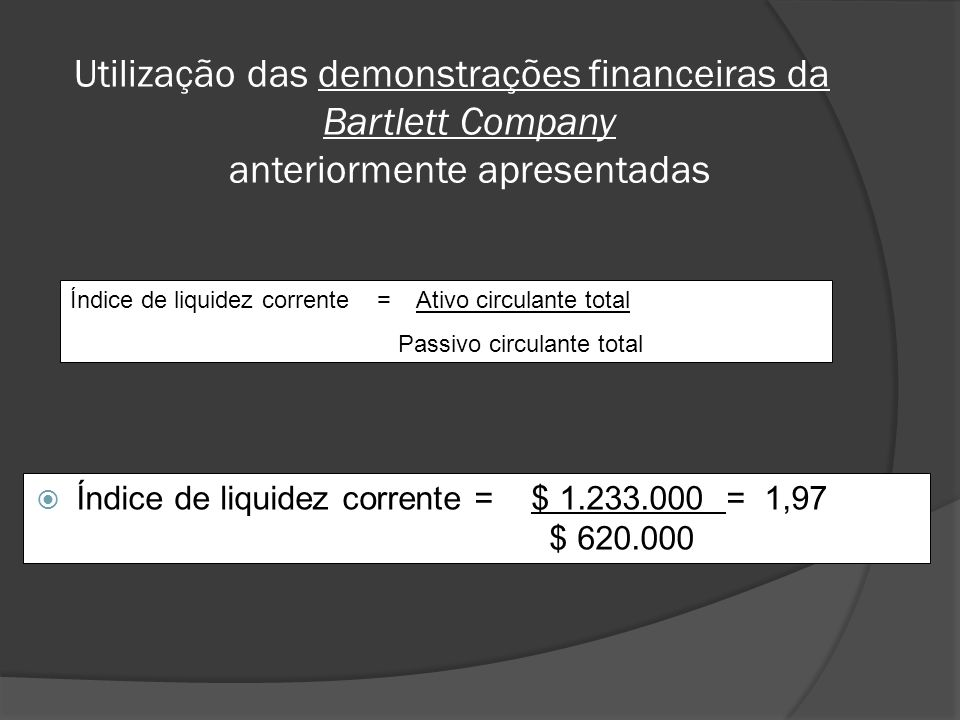 Utilização das demonstrações financeiras da Bartlett Company anteriormente apresentadas