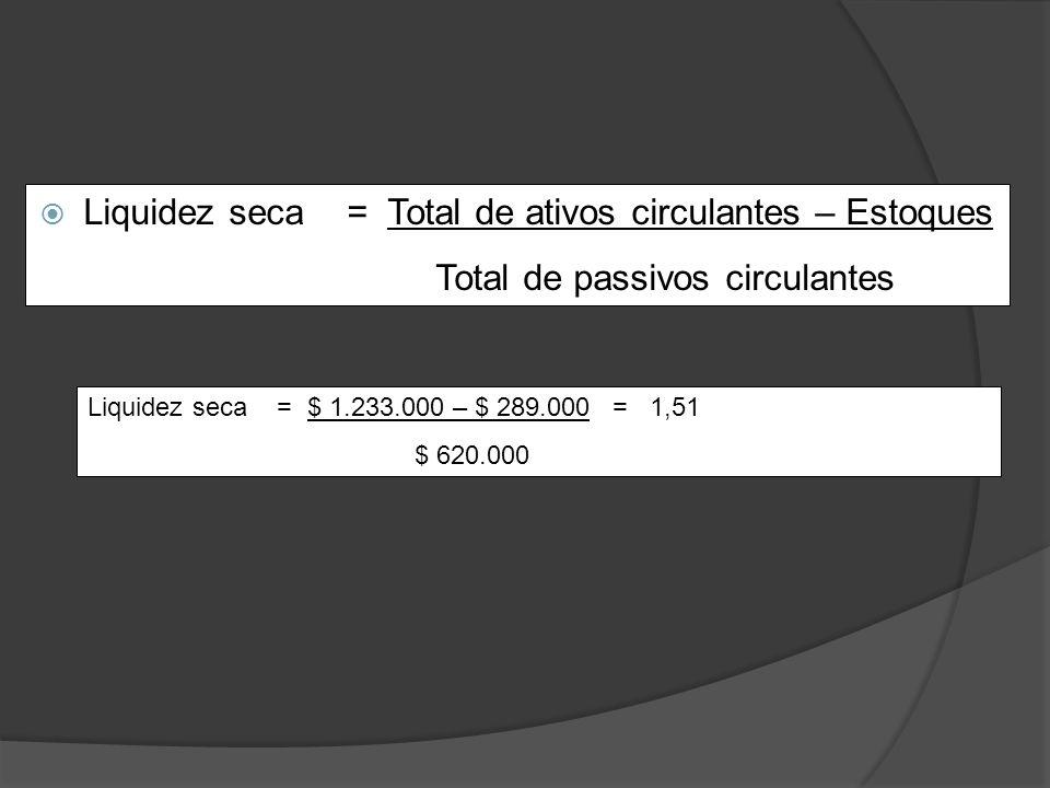 Liquidez seca = Total de ativos circulantes – Estoques