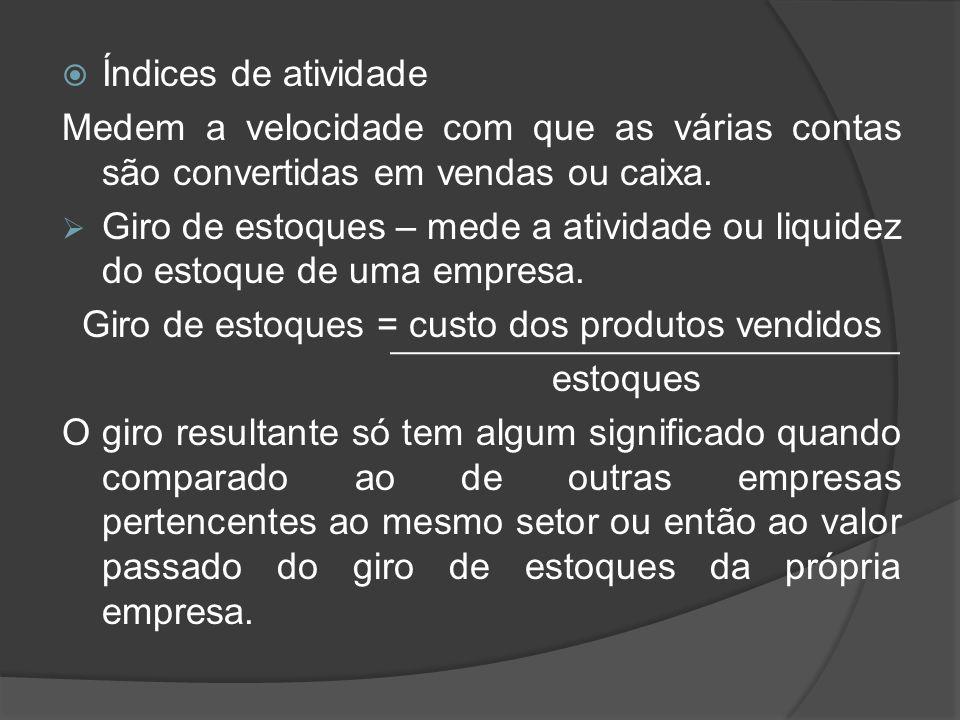 Giro de estoques = custo dos produtos vendidos
