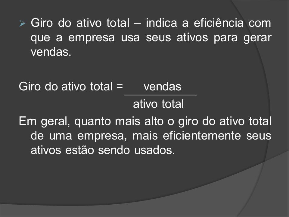 Giro do ativo total – indica a eficiência com que a empresa usa seus ativos para gerar vendas.