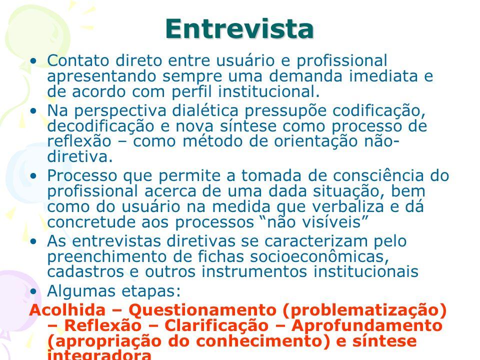 Entrevista Contato direto entre usuário e profissional apresentando sempre uma demanda imediata e de acordo com perfil institucional.