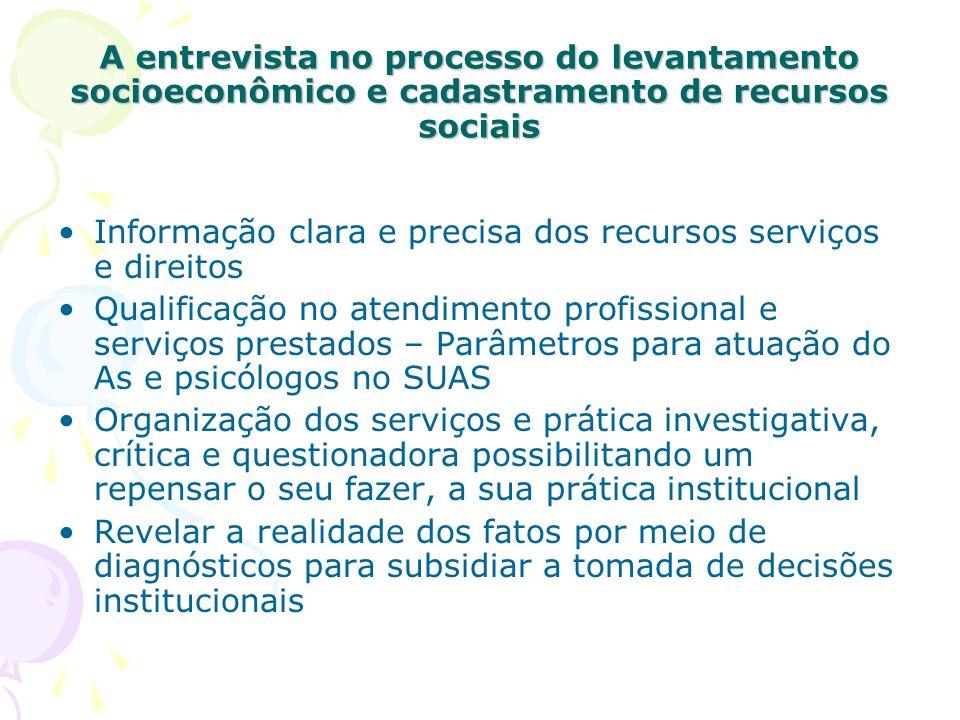A entrevista no processo do levantamento socioeconômico e cadastramento de recursos sociais