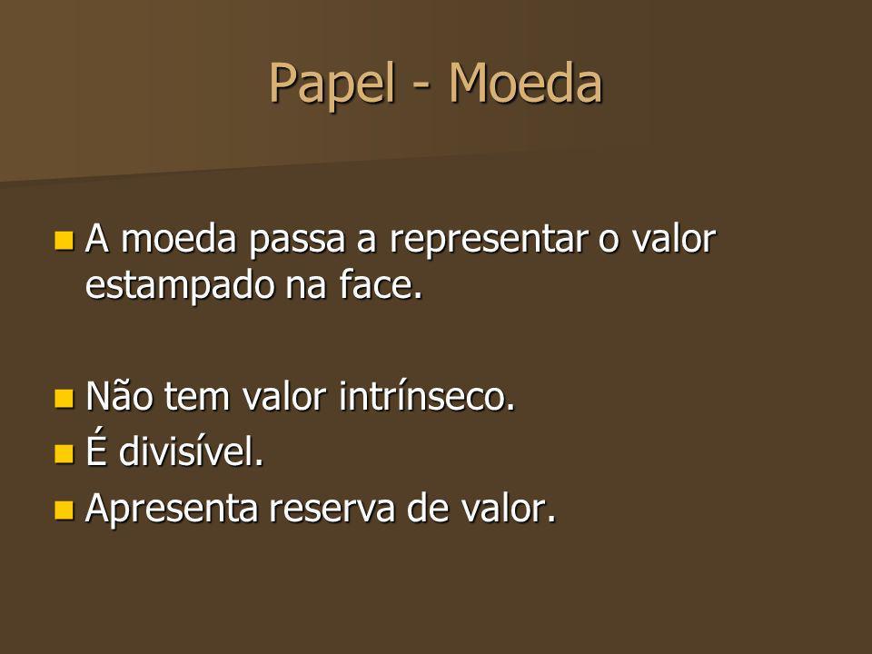 Papel - Moeda A moeda passa a representar o valor estampado na face.
