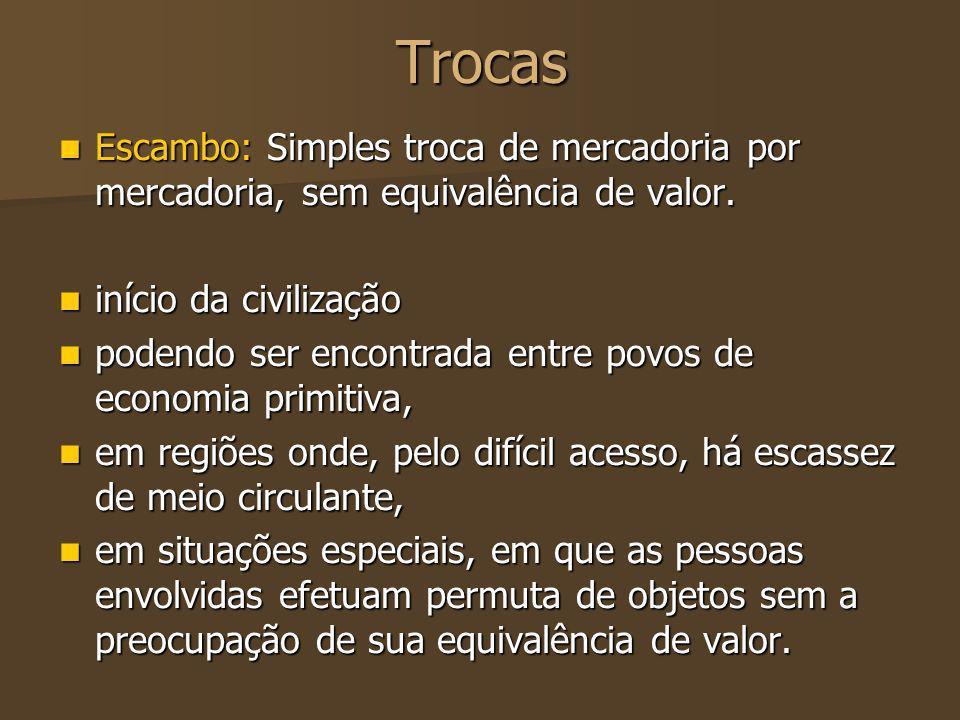 Trocas Escambo: Simples troca de mercadoria por mercadoria, sem equivalência de valor. início da civilização.