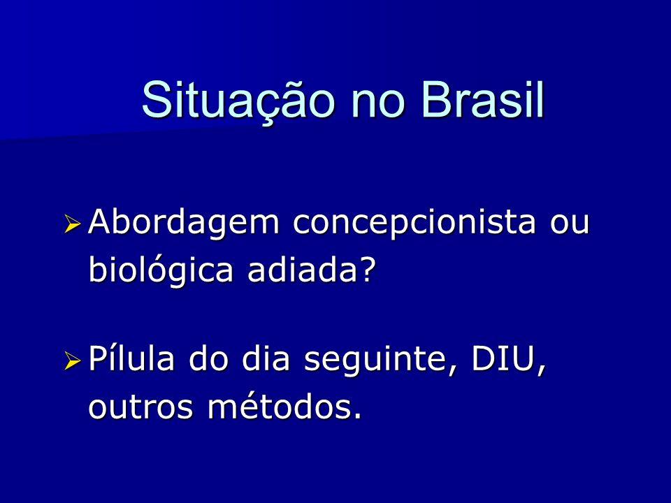 Situação no Brasil Abordagem concepcionista ou biológica adiada