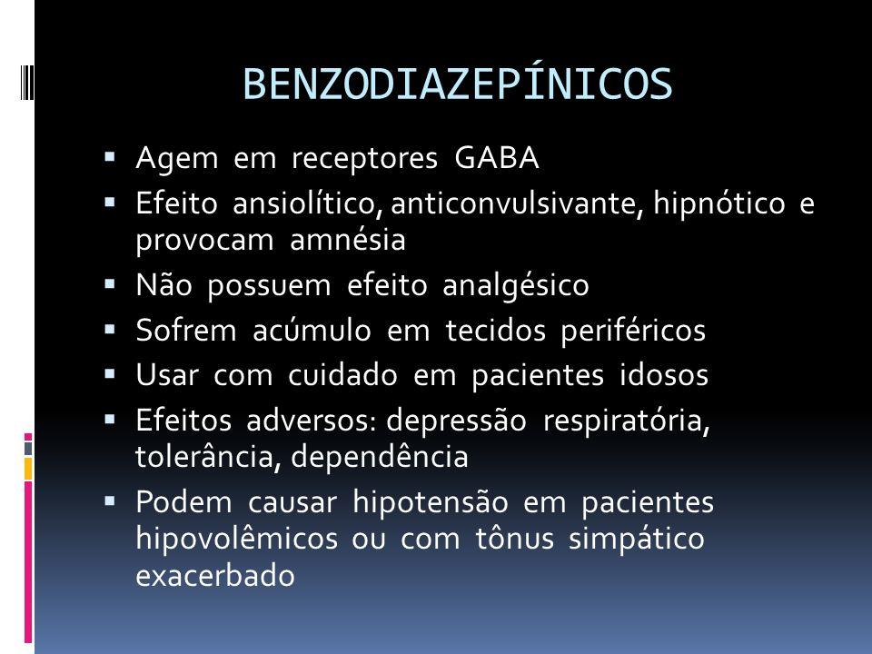 BENZODIAZEPÍNICOS Agem em receptores GABA