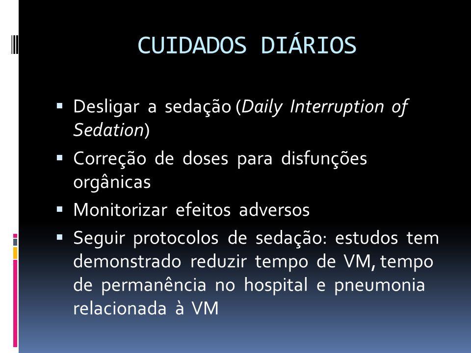 CUIDADOS DIÁRIOS Desligar a sedação (Daily Interruption of Sedation)