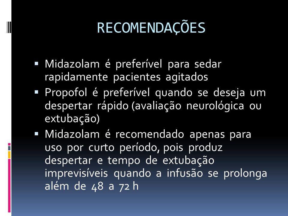 RECOMENDAÇÕES Midazolam é preferível para sedar rapidamente pacientes agitados.
