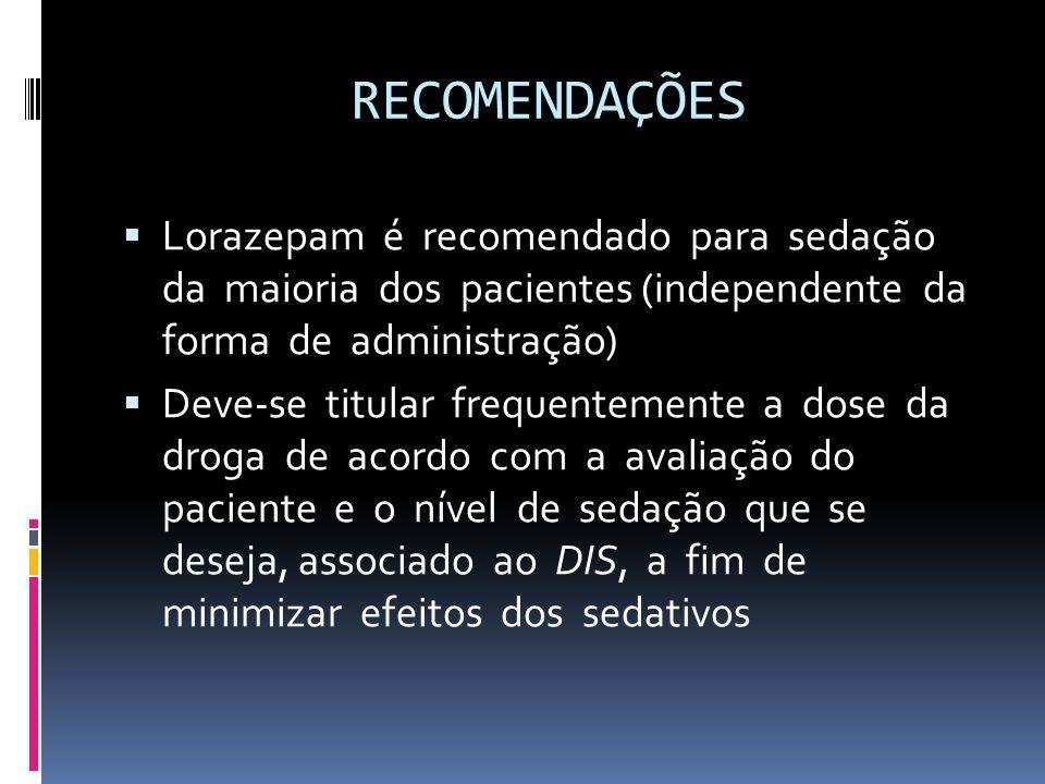 RECOMENDAÇÕES Lorazepam é recomendado para sedação da maioria dos pacientes (independente da forma de administração)