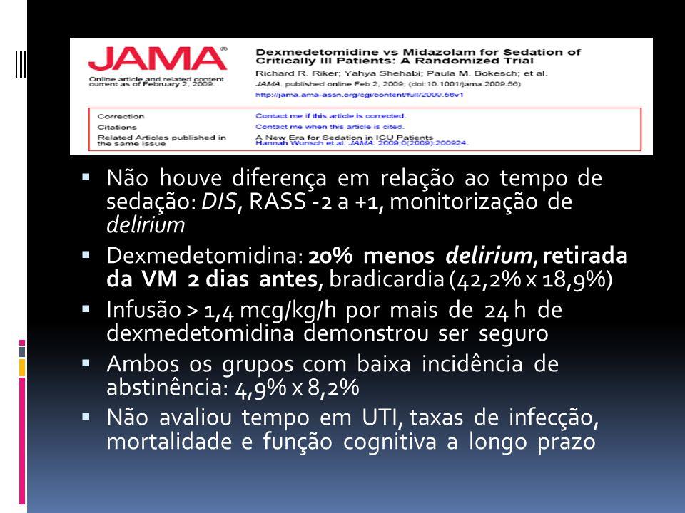Não houve diferença em relação ao tempo de sedação: DIS, RASS -2 a +1, monitorização de delirium