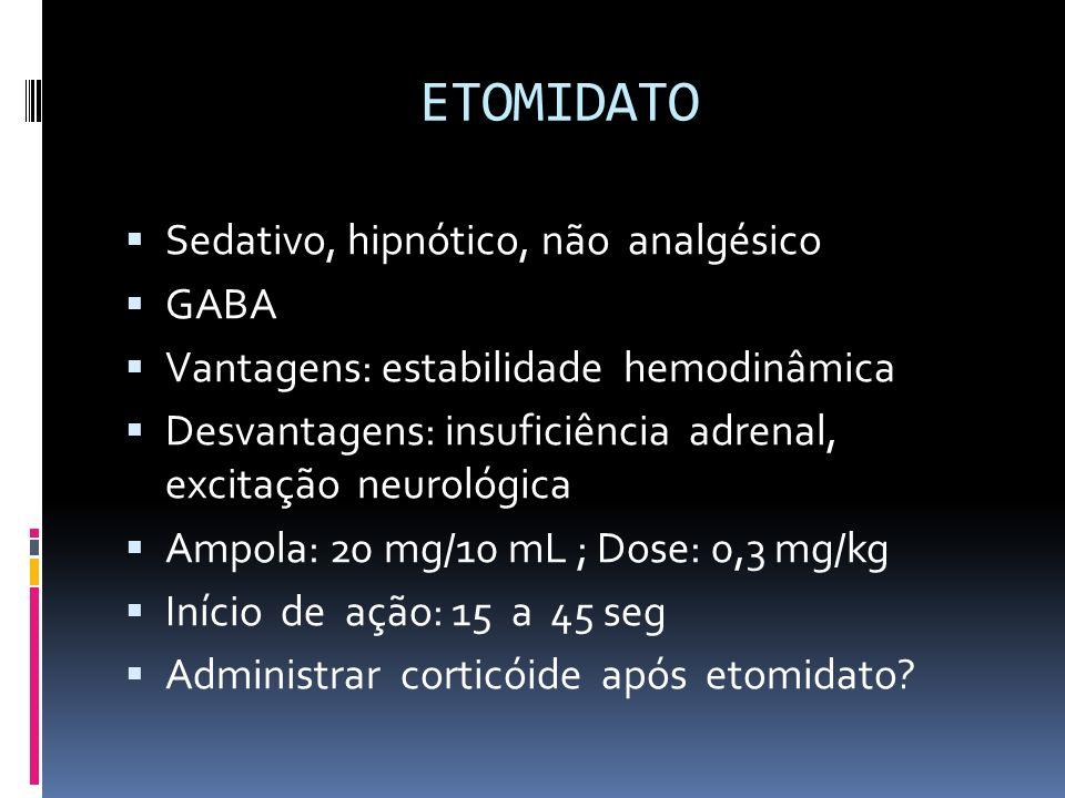 ETOMIDATO Sedativo, hipnótico, não analgésico GABA