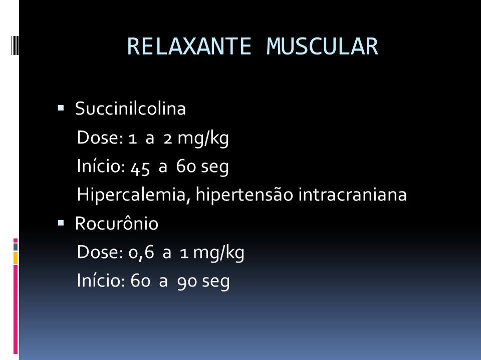 RELAXANTE MUSCULAR Succinilcolina Dose: 1 a 2 mg/kg