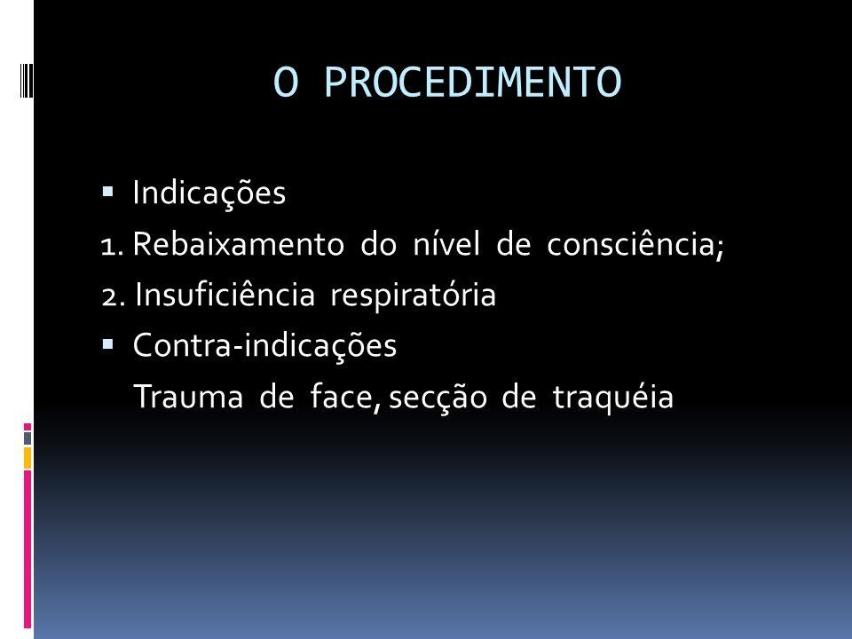 O PROCEDIMENTO Indicações 1. Rebaixamento do nível de consciência;