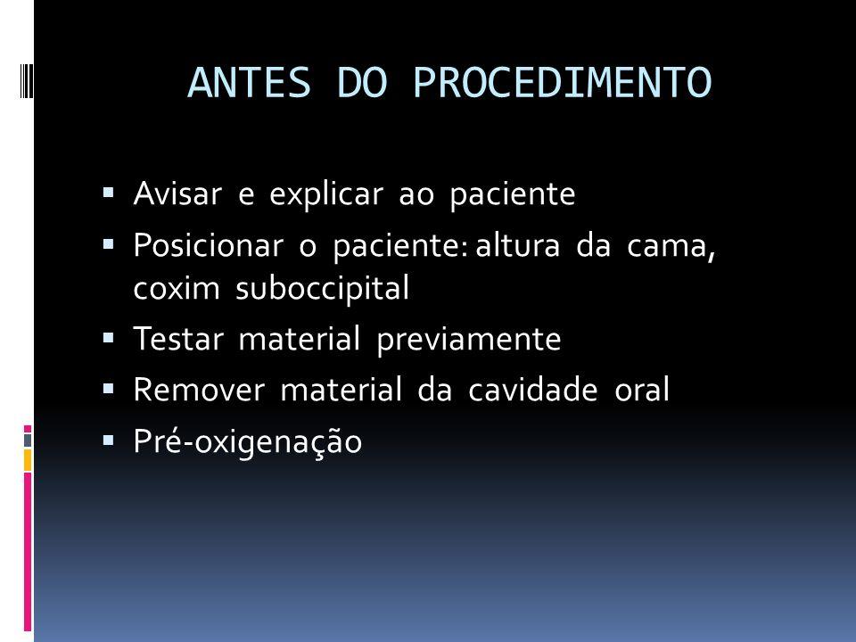 ANTES DO PROCEDIMENTO Avisar e explicar ao paciente