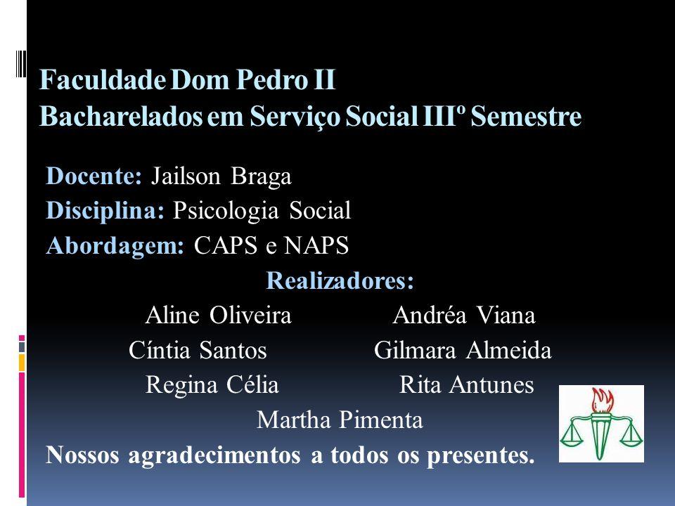 Faculdade Dom Pedro II Bacharelados em Serviço Social IIIº Semestre