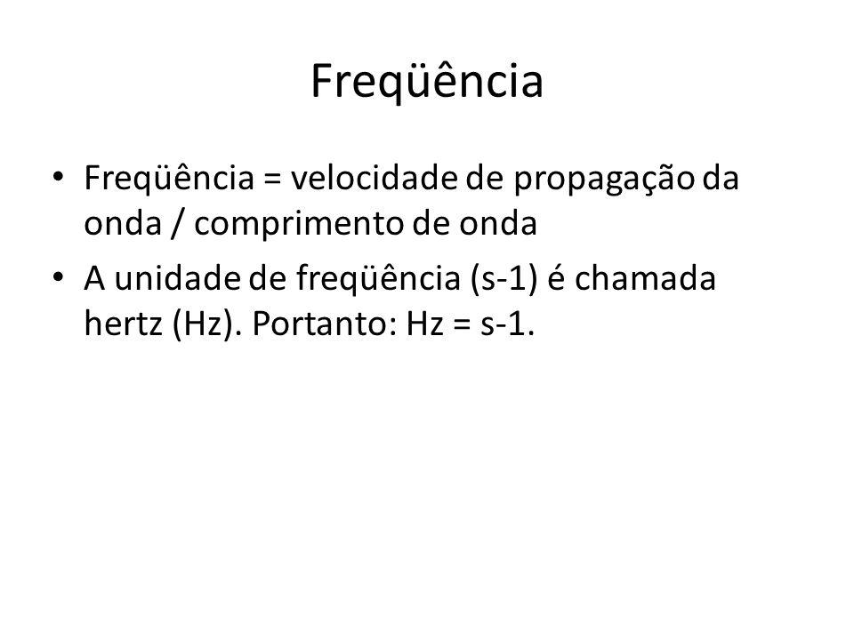 Freqüência Freqüência = velocidade de propagação da onda / comprimento de onda