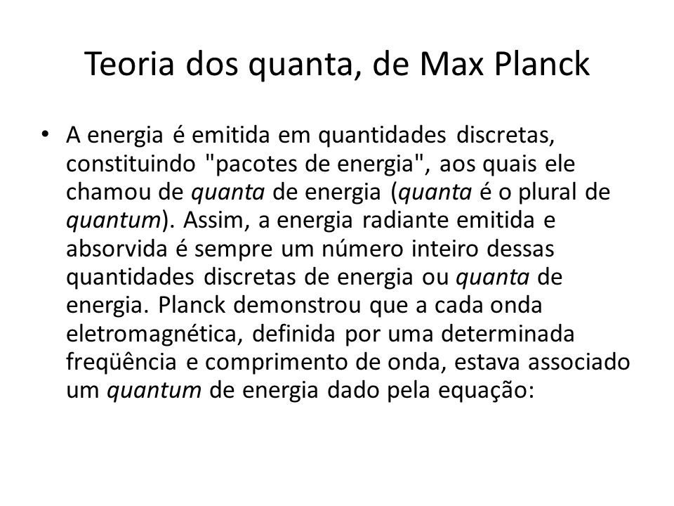 Teoria dos quanta, de Max Planck