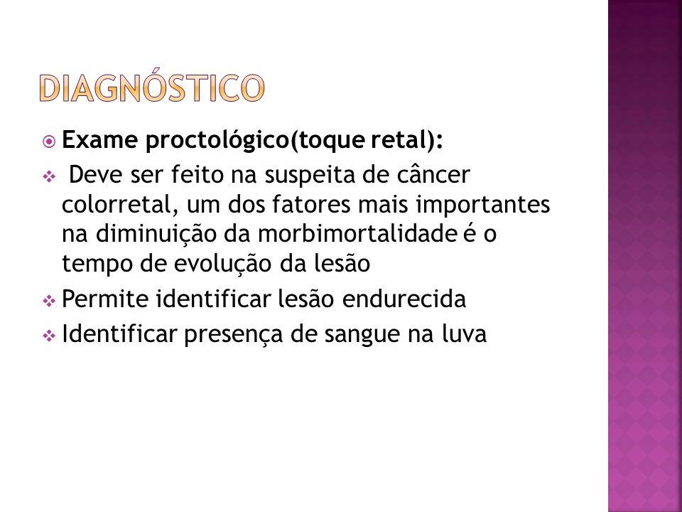 Diagnóstico Exame proctológico(toque retal):