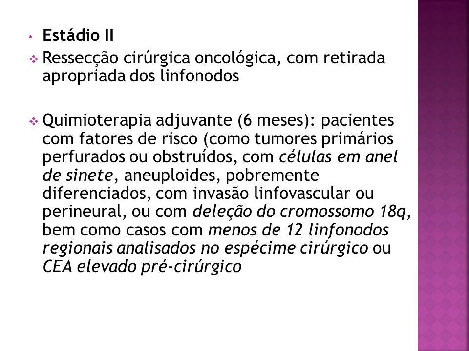 Estádio II Ressecção cirúrgica oncológica, com retirada apropriada dos linfonodos.