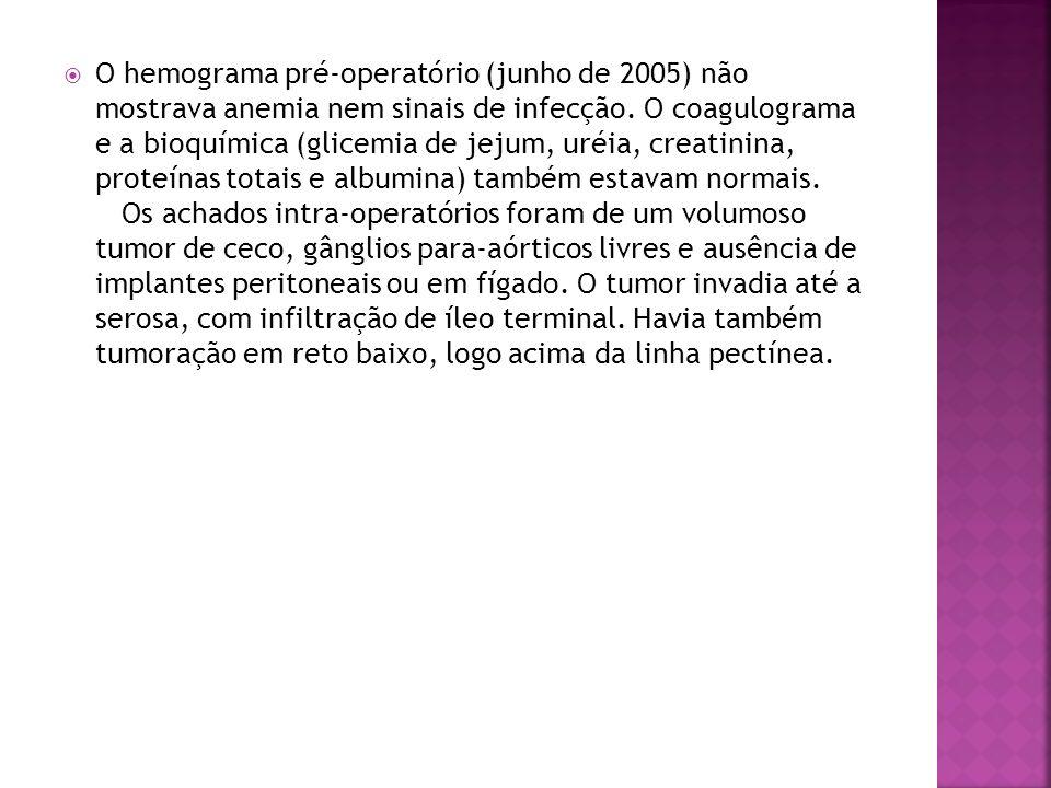 O hemograma pré-operatório (junho de 2005) não mostrava anemia nem sinais de infecção.