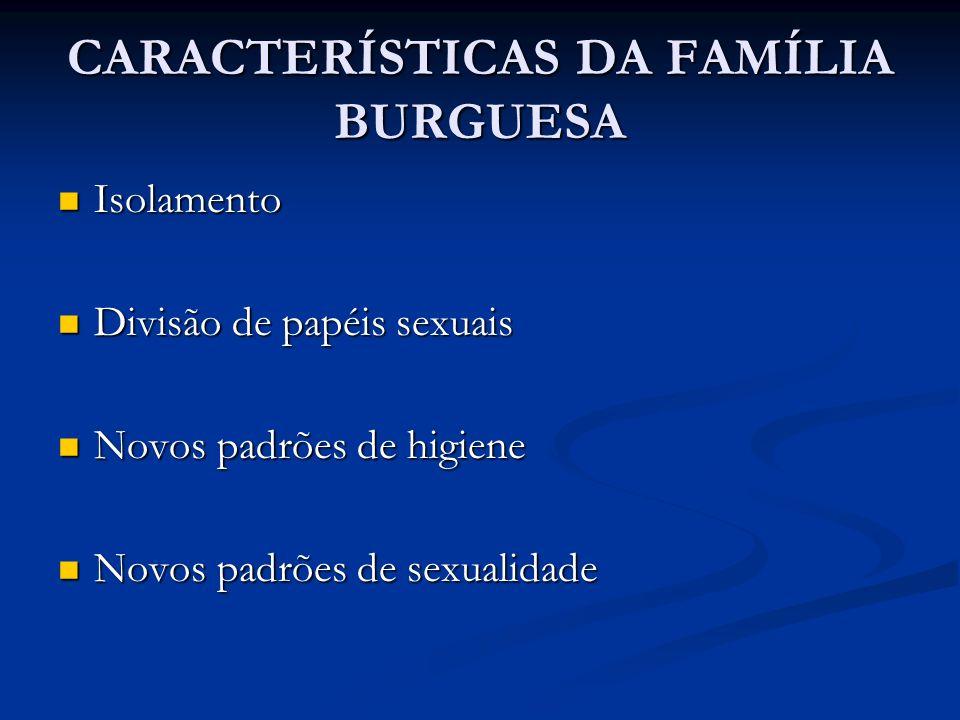 CARACTERÍSTICAS DA FAMÍLIA BURGUESA