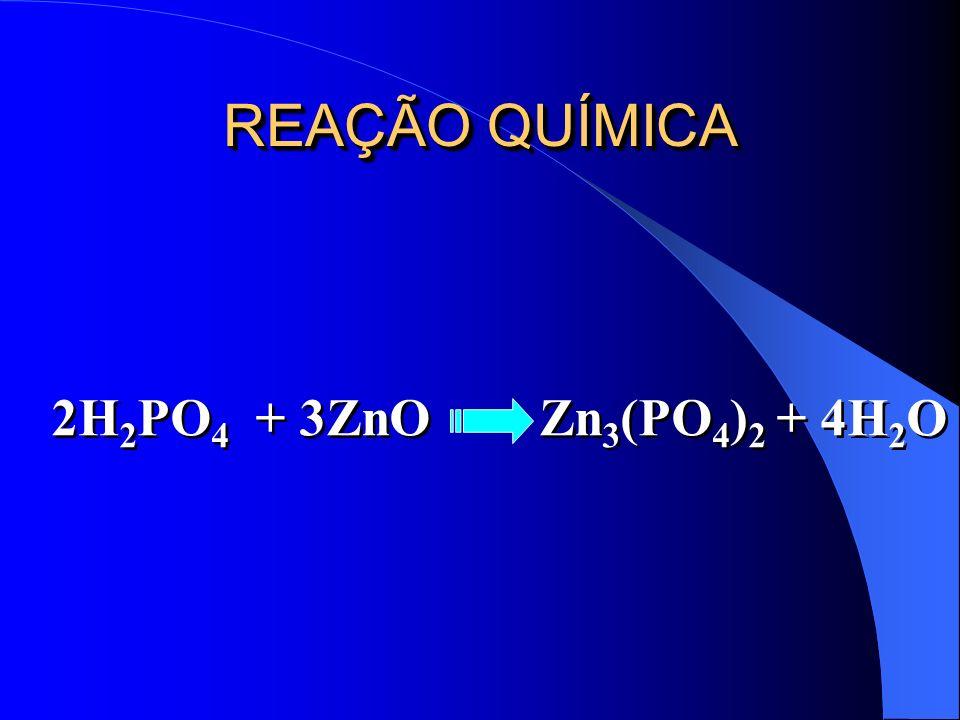 REAÇÃO QUÍMICA 2H2PO4 + 3ZnO Zn3(PO4)2 + 4H2O