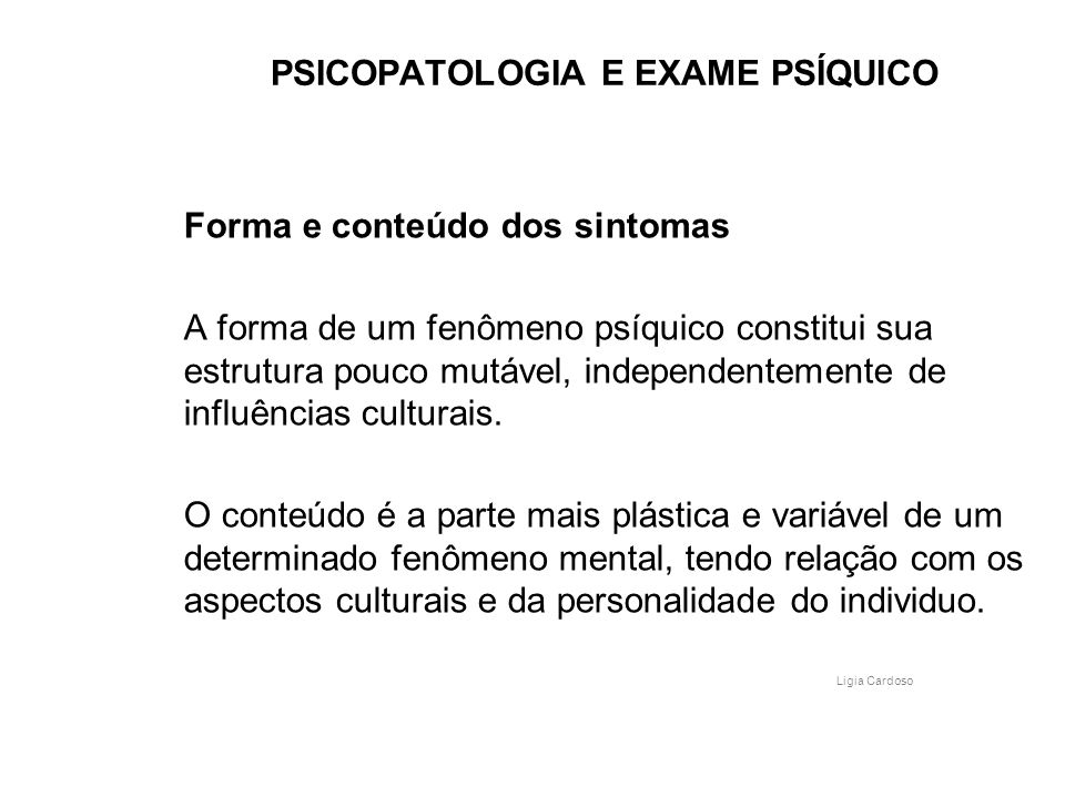 PSICOPATOLOGIA E EXAME PSÍQUICO