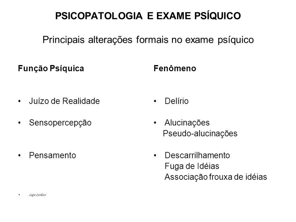 PSICOPATOLOGIA E EXAME PSÍQUICO Principais alterações formais no exame psíquico
