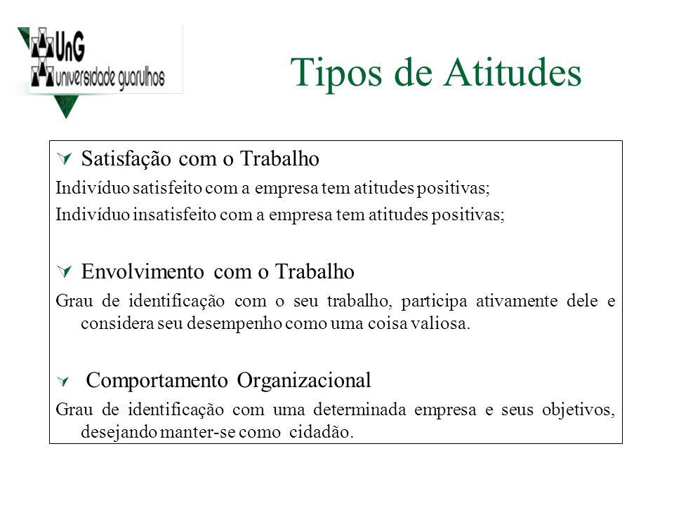 Tipos de Atitudes Satisfação com o Trabalho