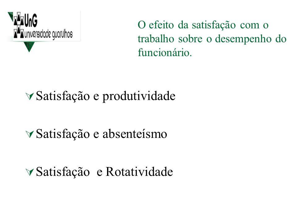 Satisfação e produtividade Satisfação e absenteísmo