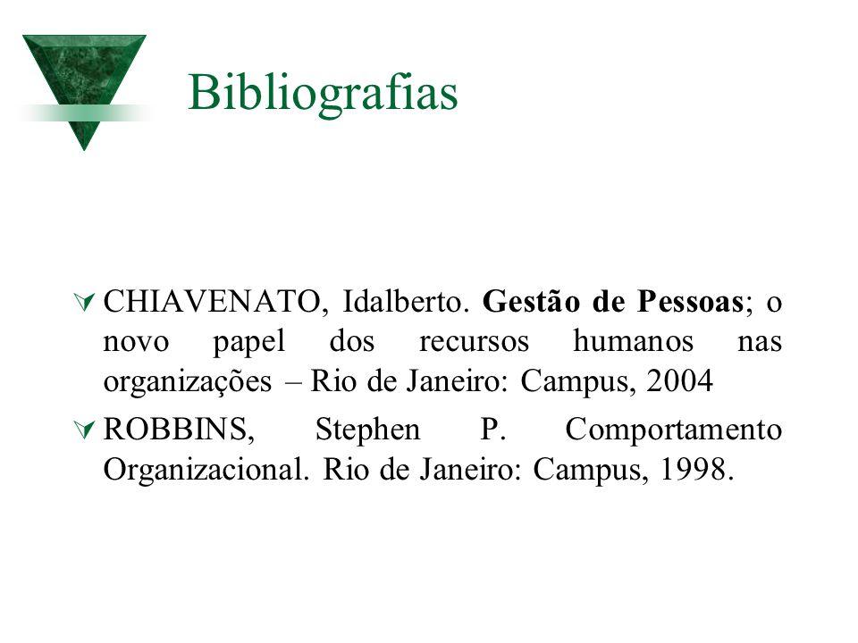Bibliografias CHIAVENATO, Idalberto. Gestão de Pessoas; o novo papel dos recursos humanos nas organizações – Rio de Janeiro: Campus, 2004.