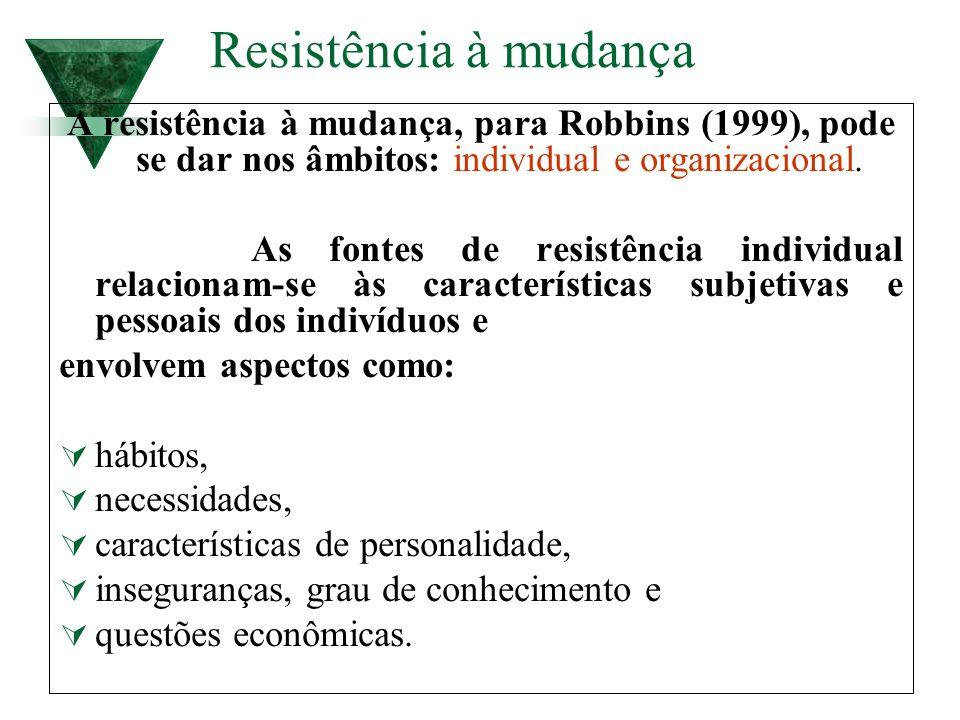 Resistência à mudança A resistência à mudança, para Robbins (1999), pode se dar nos âmbitos: individual e organizacional.