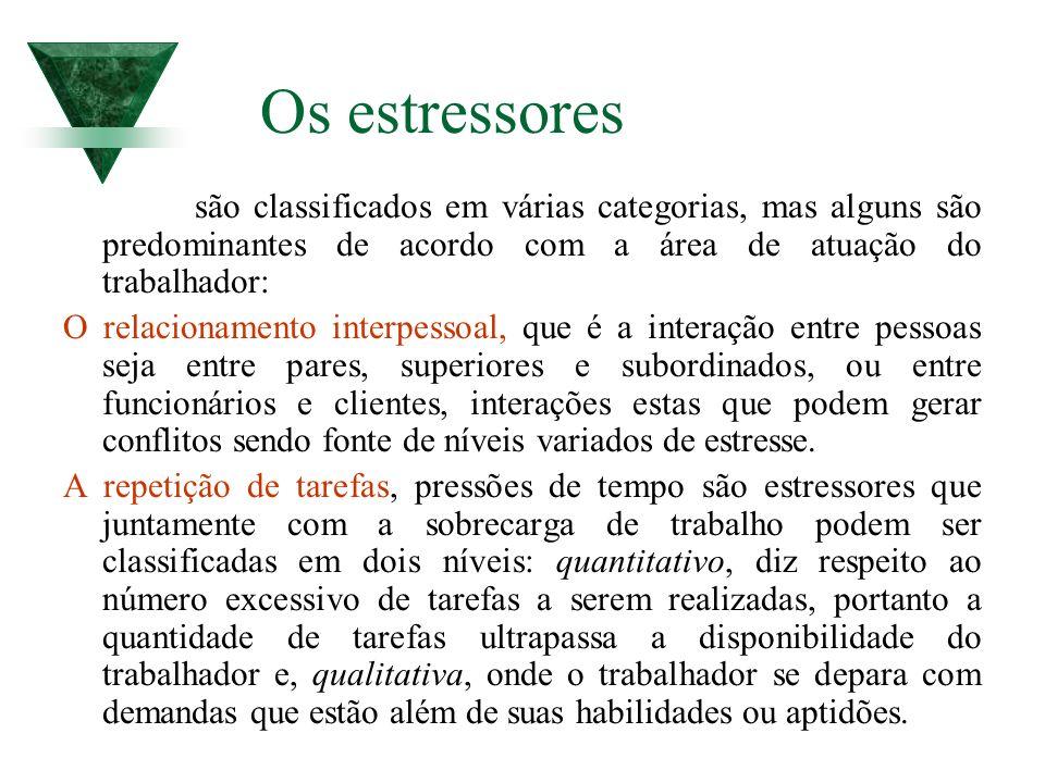 Os estressores são classificados em várias categorias, mas alguns são predominantes de acordo com a área de atuação do trabalhador:
