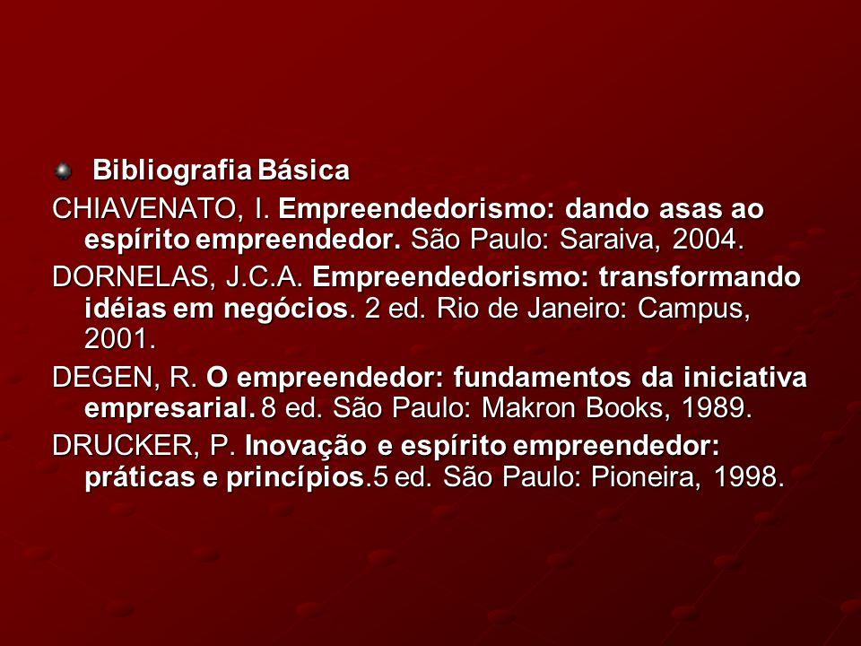 Bibliografia Básica CHIAVENATO, I. Empreendedorismo: dando asas ao espírito empreendedor. São Paulo: Saraiva, 2004.