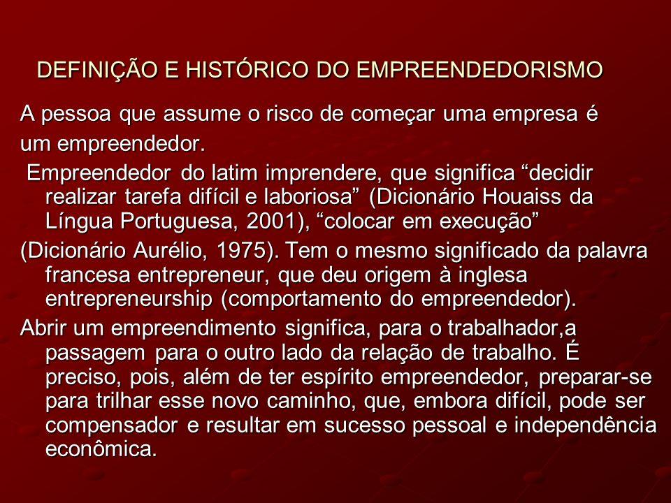 DEFINIÇÃO E HISTÓRICO DO EMPREENDEDORISMO