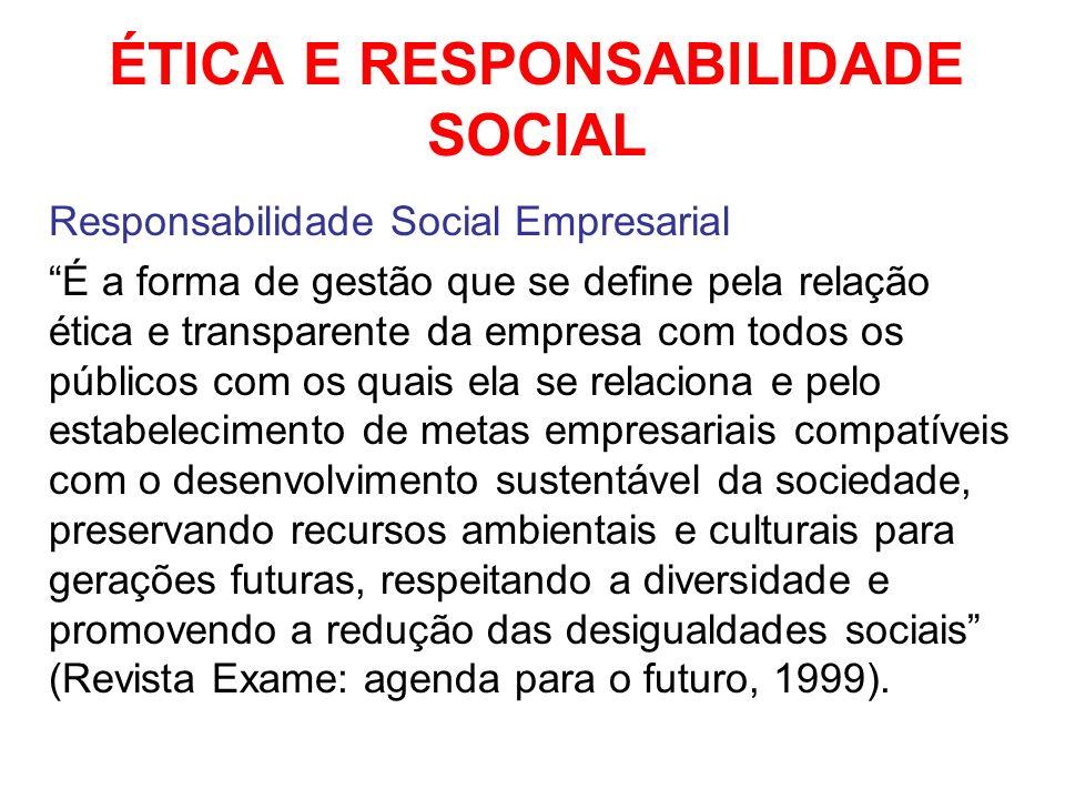 ÉTICA E RESPONSABILIDADE SOCIAL