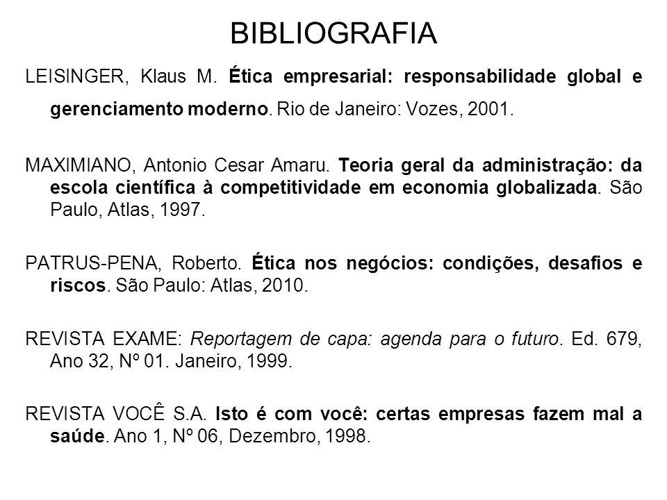 BIBLIOGRAFIA LEISINGER, Klaus M. Ética empresarial: responsabilidade global e gerenciamento moderno. Rio de Janeiro: Vozes, 2001.