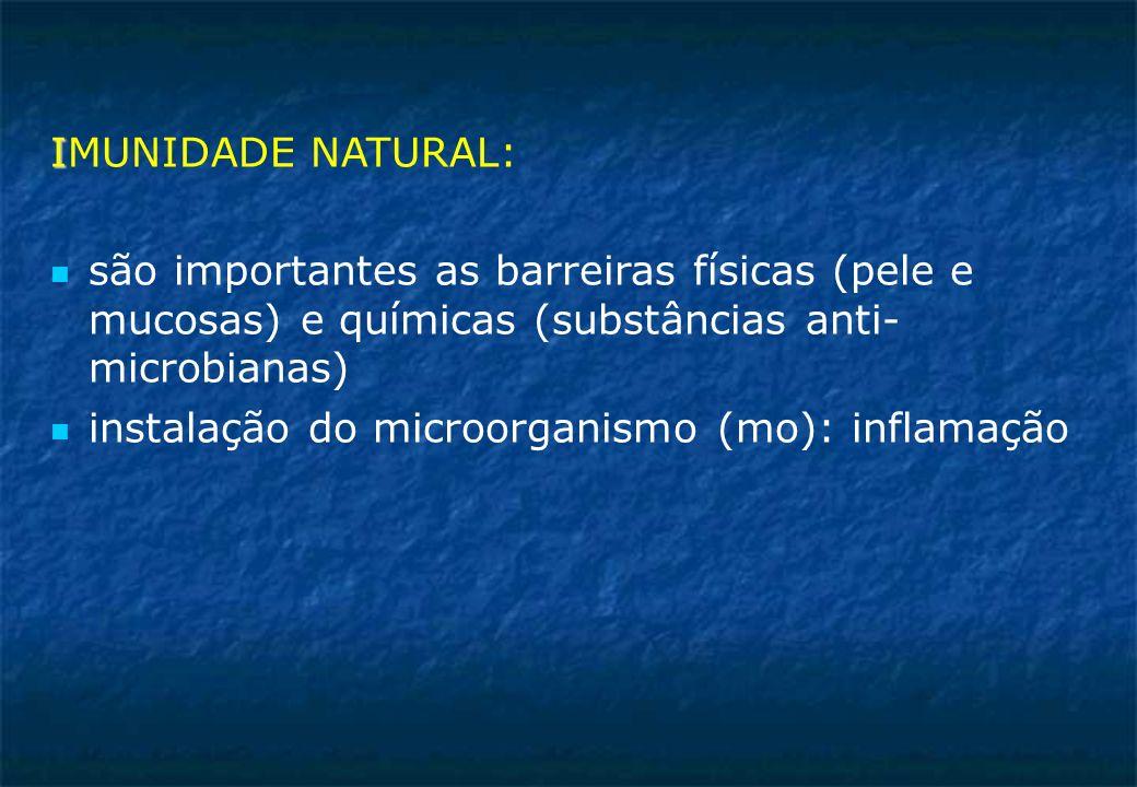 IMUNIDADE NATURAL: são importantes as barreiras físicas (pele e mucosas) e químicas (substâncias anti- microbianas)